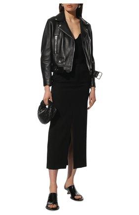 Женская кожаная куртка ACNE STUDIOS черного цвета, арт. A70065 | Фото 2