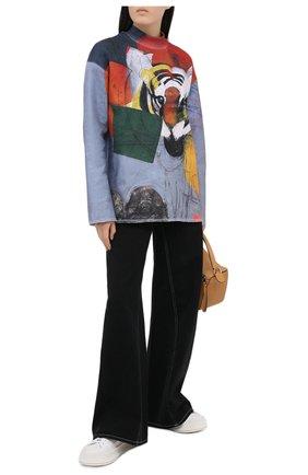 Женский хлопковый пуловер KENZO голубого цвета, арт. FA65MSW114D7 | Фото 2
