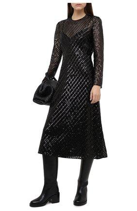 Женское платье с пайетками VALENTINO черного цвета, арт. UB0VATX00K8 | Фото 2
