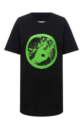 Женская хлопковая футболка MM6 черного цвета, арт. S62GD0077/S23588 | Фото 1