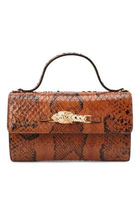 Женская сумка из кожи анаконды GUCCI коричневого цвета, арт. 616702/L2QCG/EN0T   Фото 1 (Ремень/цепочка: На ремешке; Размер: mini; Сумки-технические: Сумки top-handle, Сумки через плечо)