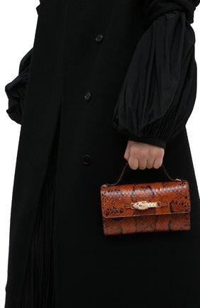 Женская сумка из кожи анаконды GUCCI коричневого цвета, арт. 616702/L2QCG/EN0T   Фото 2 (Ремень/цепочка: На ремешке; Размер: mini; Сумки-технические: Сумки top-handle, Сумки через плечо)