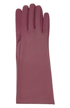 Женские кожаные перчатки SAINT LAURENT розового цвета, арт. 639505/3YA26 | Фото 1 (Материал: Кожа)