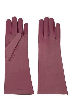 Женские кожаные перчатки SAINT LAURENT розового цвета, арт. 639505/3YA26 | Фото 2 (Материал: Кожа)
