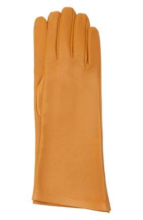 Женские кожаные перчатки SAINT LAURENT желтого цвета, арт. 639505/3YA26 | Фото 1