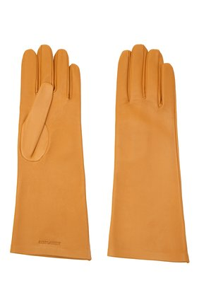Женские кожаные перчатки SAINT LAURENT желтого цвета, арт. 639505/3YA26 | Фото 2