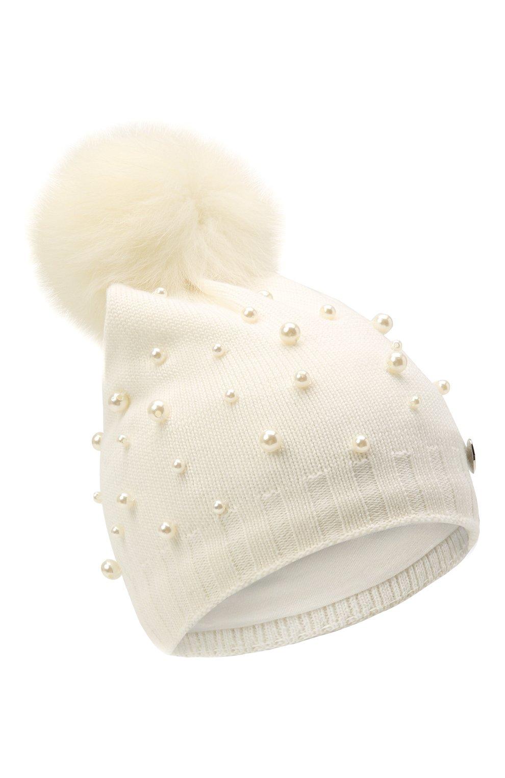Детского шерстяная шапка MONNALISA белого цвета, арт. 796015 | Фото 1