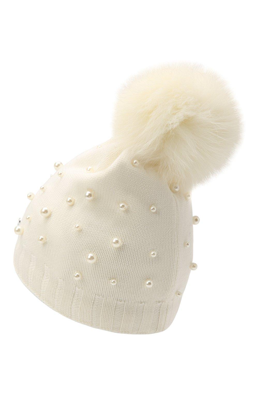 Детского шерстяная шапка MONNALISA белого цвета, арт. 796015 | Фото 2