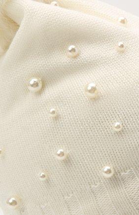 Детского шерстяная шапка MONNALISA белого цвета, арт. 796015 | Фото 3