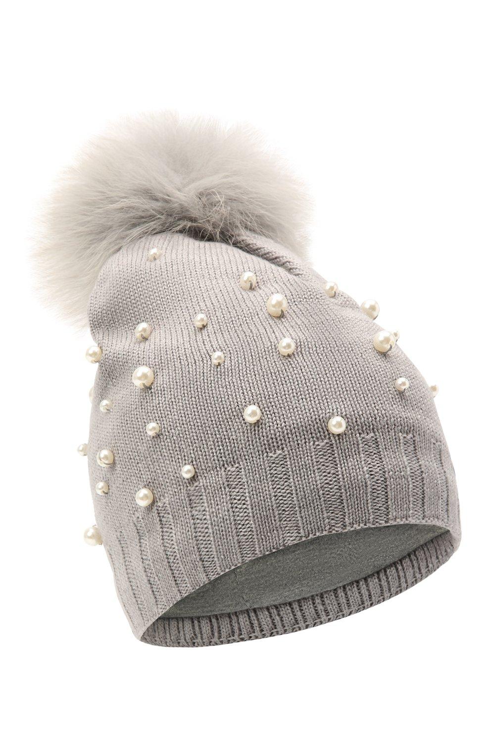 Детского шерстяная шапка MONNALISA серого цвета, арт. 796015   Фото 1 (Материал: Текстиль, Шерсть, Синтетический материал)