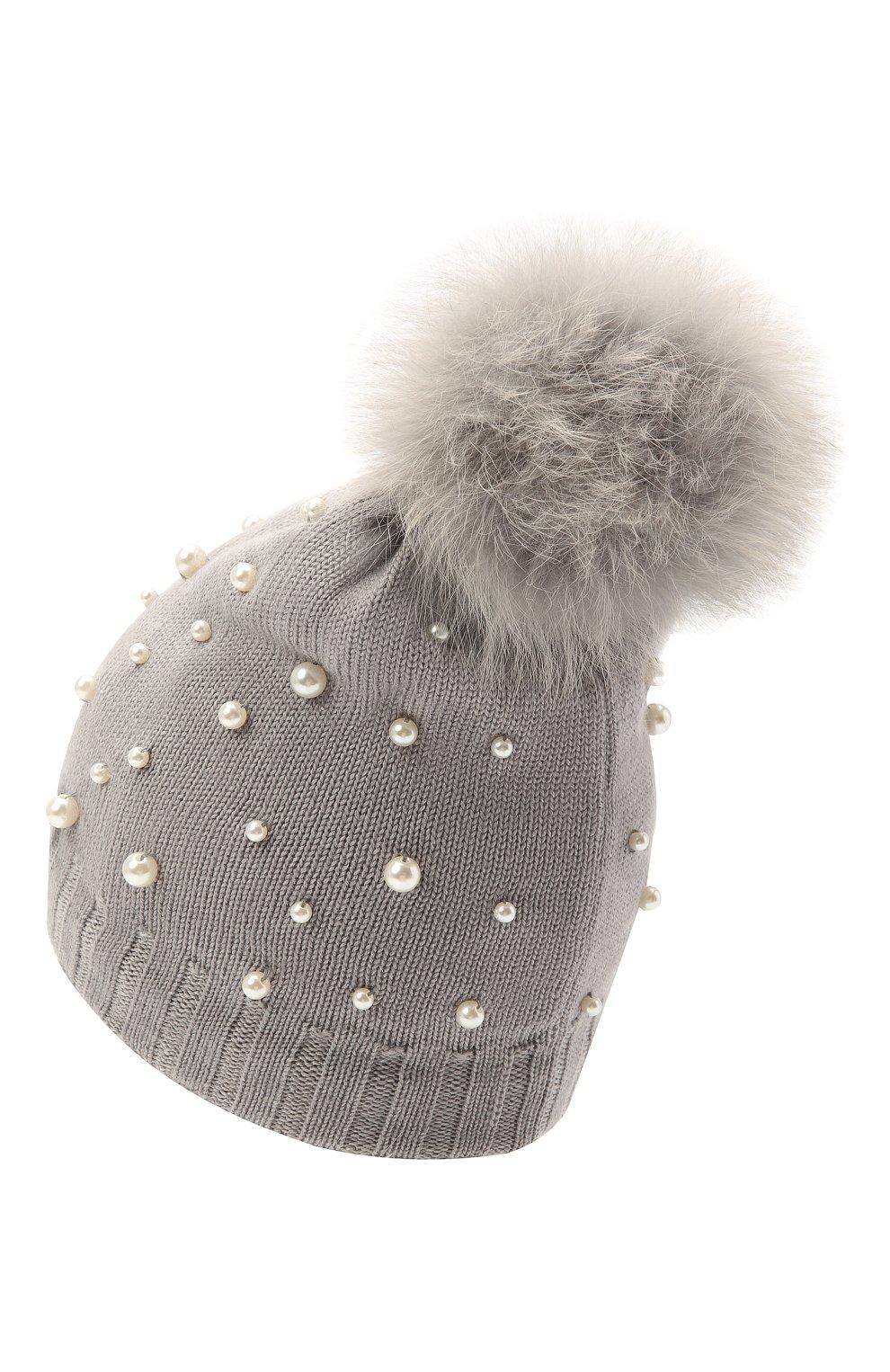 Детского шерстяная шапка MONNALISA серого цвета, арт. 796015   Фото 2 (Материал: Текстиль, Шерсть, Синтетический материал)