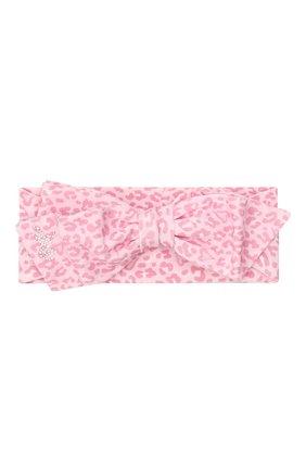 Детская повязка на голову MONNALISA розового цвета, арт. 396019 | Фото 1