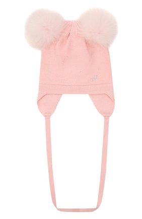 Детского шерстяная шапка MONNALISA розового цвета, арт. 376003 | Фото 1