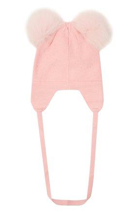 Детского шерстяная шапка MONNALISA розового цвета, арт. 376003 | Фото 2