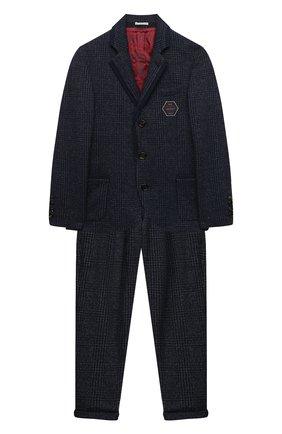 Детский шерстяной костюм BRUNELLO CUCINELLI синего цвета, арт. BL851A107C | Фото 1 (Рукава: Длинные; Материал внешний: Шерсть; Материал подклада: Купро; Кросс-КТ: костюм; Ростовка одежда: 12 лет | 152 см)