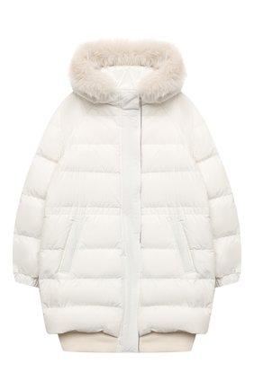 Детского пуховая куртка BRUNELLO CUCINELLI белого цвета, арт. BB574J419C | Фото 1