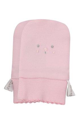 Детские хлопковые варежки KISSY KISSY розового цвета, арт. KG4052490 | Фото 1