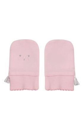 Детские хлопковые варежки KISSY KISSY розового цвета, арт. KG4052490 | Фото 2