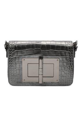 Женская сумка natalia из кожи аллигатора TOM FORD темно-серого цвета, арт. L0826R-A42/AMIS   Фото 1 (Ремень/цепочка: На ремешке; Размер: small; Сумки-технические: Сумки через плечо)
