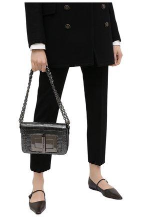 Женская сумка natalia из кожи аллигатора TOM FORD темно-серого цвета, арт. L0826R-A42/AMIS   Фото 2 (Ремень/цепочка: На ремешке; Размер: small; Сумки-технические: Сумки через плечо)