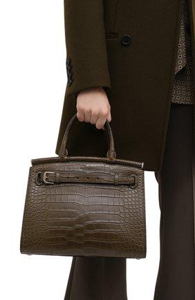 Женская сумка rl50 large из кожи аллигатора RALPH LAUREN зеленого цвета, арт. 435769042/AMIS | Фото 2