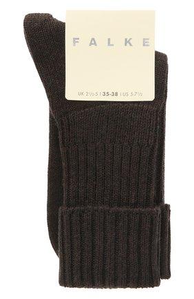 Женские шерстяные носки FALKE темно-коричневого цвета, арт. 47520   Фото 1 (Материал внешний: Шерсть, Синтетический материал)