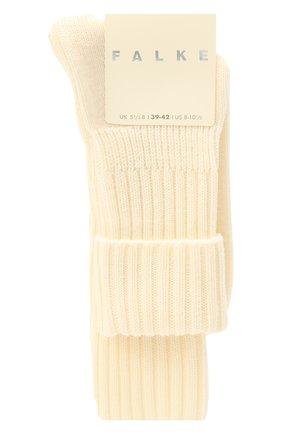 Женские шерстяные носки FALKE белого цвета, арт. 47520   Фото 1 (Материал внешний: Шерсть, Синтетический материал)
