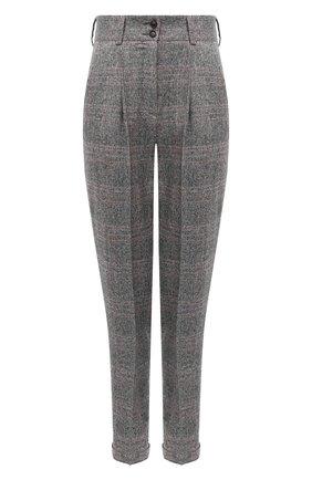 Женские брюки из шелка и шерсти KITON серого цвета, арт. D50106S06305 | Фото 1