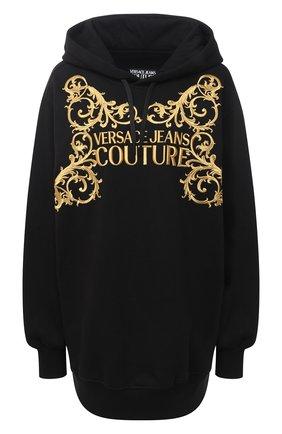 Женская хлопковое худи VERSACE JEANS COUTURE черного цвета, арт. B6HZB71T-ZDM311 41 EMBR0/30216 | Фото 1