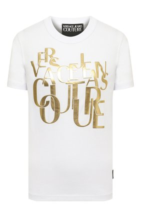 Женская хлопковая футболка VERSACE JEANS COUTURE белого цвета, арт. B2HZB7TC-ZDM613 REG 25 THICK F0IL/30319 | Фото 1