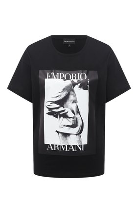 Женская хлопковая футболка EMPORIO ARMANI черного цвета, арт. 6H2T7L/2J30Z | Фото 1