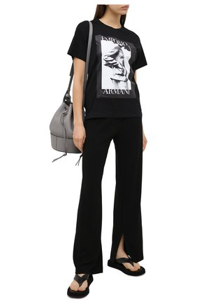 Женская хлопковая футболка EMPORIO ARMANI черного цвета, арт. 6H2T7L/2J30Z | Фото 2