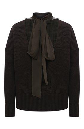 Женский шерстяной свитер SACAI коричневого цвета, арт. 20-05278 | Фото 1