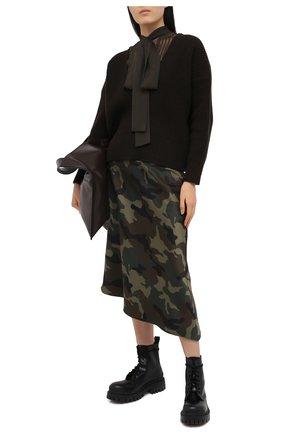 Женский шерстяной свитер SACAI коричневого цвета, арт. 20-05278 | Фото 2