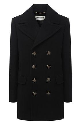 Женское шерстяное пальто SAINT LAURENT черного цвета, арт. 631604/Y160W | Фото 1