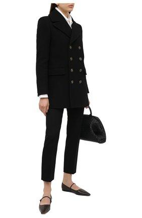 Женское шерстяное пальто SAINT LAURENT черного цвета, арт. 631604/Y160W | Фото 2