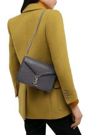 Женская сумка SAINT LAURENT темно-серого цвета, арт. 532750/DND0E | Фото 2 (Материал: Натуральная кожа; Размер: small; Ремень/цепочка: На ремешке; Сумки-технические: Сумки через плечо)