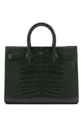 Женская сумка sac de jour SAINT LAURENT зеленого цвета, арт. 398709/E5V0N   Фото 1 (Ремень/цепочка: На ремешке; Размер: medium; Сумки-технические: Сумки top-handle, Сумки через плечо)