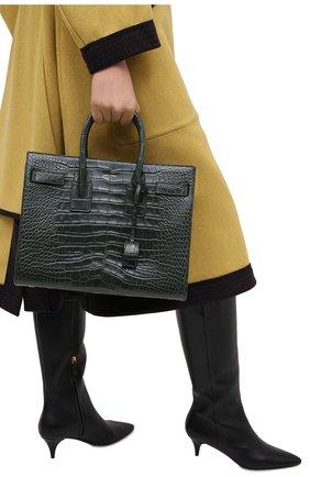 Женская сумка sac de jour SAINT LAURENT зеленого цвета, арт. 398709/E5V0N   Фото 2 (Ремень/цепочка: На ремешке; Размер: medium; Сумки-технические: Сумки top-handle, Сумки через плечо)