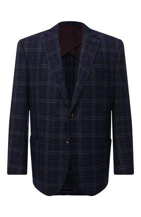 Мужской пиджак из шерсти и шелка LUCIANO BARBERA темно-синего цвета, арт. 111A25PEL1/18124/58-62   Фото 1