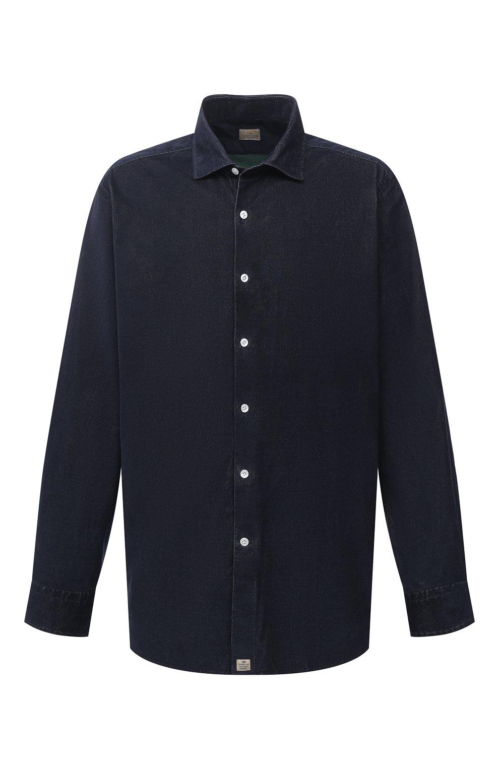 Мужская хлопковая рубашка SONRISA темно-синего цвета, арт. IL7/VE/LV1112/47-51 | Фото 1 (Big sizes: Big Sizes; Рукава: Длинные; Рубашки М: Classic Fit; Случай: Повседневный; Длина (для топов): Стандартные; Материал внешний: Хлопок; Стили: Кэжуэл)