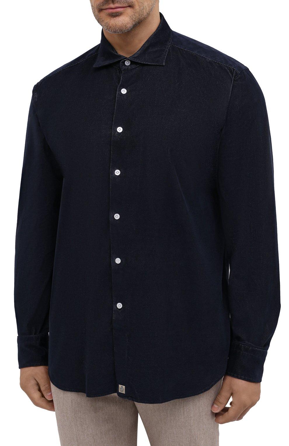 Мужская хлопковая рубашка SONRISA темно-синего цвета, арт. IL7/VE/LV1112/47-51 | Фото 3 (Big sizes: Big Sizes; Рукава: Длинные; Рубашки М: Classic Fit; Случай: Повседневный; Длина (для топов): Стандартные; Материал внешний: Хлопок; Стили: Кэжуэл)