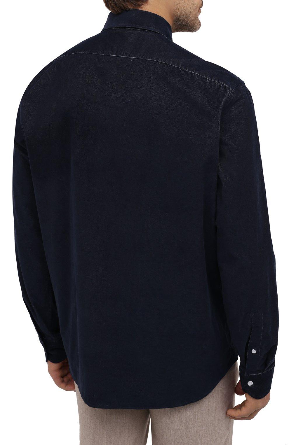 Мужская хлопковая рубашка SONRISA темно-синего цвета, арт. IL7/VE/LV1112/47-51 | Фото 4 (Big sizes: Big Sizes; Рукава: Длинные; Рубашки М: Classic Fit; Случай: Повседневный; Длина (для топов): Стандартные; Материал внешний: Хлопок; Стили: Кэжуэл)