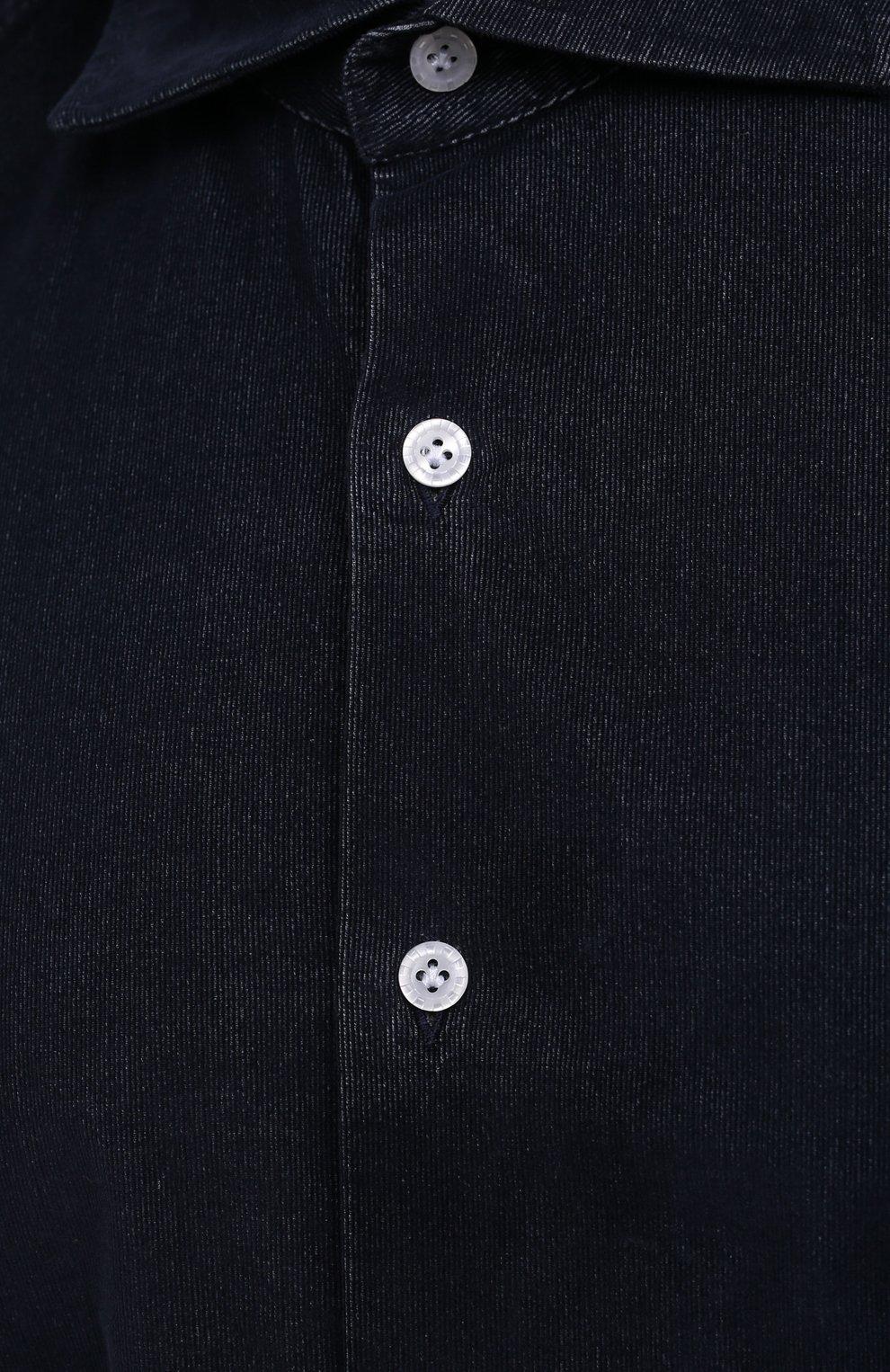 Мужская хлопковая рубашка SONRISA темно-синего цвета, арт. IL7/VE/LV1112/47-51 | Фото 5 (Big sizes: Big Sizes; Рукава: Длинные; Рубашки М: Classic Fit; Случай: Повседневный; Длина (для топов): Стандартные; Материал внешний: Хлопок; Стили: Кэжуэл)