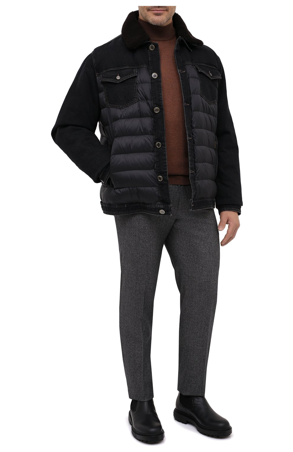 Мужская комбинированная куртка mondor MOORER черного цвета, арт. M0ND0R/FUR-106S/A20M880DC16 | Фото 2 (Кросс-КТ: Куртка, Пуховик; Big sizes: Big Sizes; Мужское Кросс-КТ: пуховик-короткий, Пуховик-верхняя одежда, Верхняя одежда; Рукава: Длинные; Материал внешний: Хлопок; Материал подклада: Синтетический материал; Длина (верхняя одежда): Короткие; Стили: Кэжуэл)