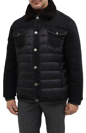 Мужская комбинированная куртка mondor MOORER черного цвета, арт. M0ND0R/FUR-106S/A20M880DC16 | Фото 3 (Кросс-КТ: Куртка, Пуховик; Big sizes: Big Sizes; Мужское Кросс-КТ: пуховик-короткий, Пуховик-верхняя одежда, Верхняя одежда; Рукава: Длинные; Материал внешний: Хлопок; Материал подклада: Синтетический материал; Длина (верхняя одежда): Короткие; Стили: Кэжуэл)