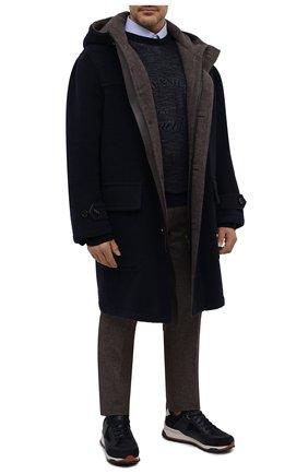 Мужской шерстяное пальто BRIONI темно-синего цвета, арт. S0QB0L/09A23 | Фото 2