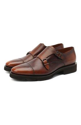 Мужские кожаные монки SANTONI коричневого цвета, арт. MCBN17125PW5HSYCM48 | Фото 1