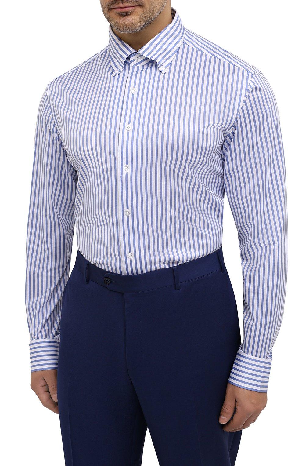 Мужская хлопковая сорочка SONRISA голубого цвета, арт. IFJ7167/J824/47-51 | Фото 3 (Big sizes: Big Sizes; Рукава: Длинные; Рубашки М: Regular Fit; Принт: Полоска; Длина (для топов): Стандартные; Материал внешний: Хлопок; Стили: Классический; Случай: Формальный)