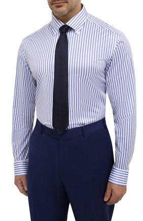 Мужская хлопковая сорочка SONRISA голубого цвета, арт. IFJ7167/J824/47-51 | Фото 4 (Big sizes: Big Sizes; Рукава: Длинные; Рубашки М: Regular Fit; Принт: Полоска; Длина (для топов): Стандартные; Материал внешний: Хлопок; Стили: Классический; Случай: Формальный)